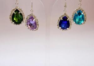 Emerald Bridal Earring Marsala Earrings Burgundy Bridesmaid Bridal Jewelry Emerald Silver Jewelry Set Rhinestone Wedding Pendant Jewelry Set