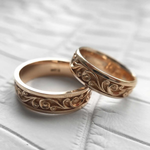 Gold Matte Wedding Band Set, 14K Gold Floral Wedding Ring Set , Filigree Wedding Bands Women, Unique Wedding Rings