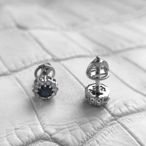 Round Sapphire Stud Earrings, Sapphire 14K White Gold Studs, Princess Diana Sapphire Diamond Earrings, Small Sapphire Earrings