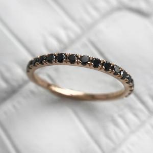 Black Diamond Ring, Half Eternity Stacking Ring, 14K Rose Gold Black Eternity Wedding Band, Pave Diamond Ring