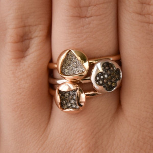 4 Leaf Clover Ring, Rose Gold Rings For Women, Irish Ring, Promise Ring For Her Gold, Unique Gifts For Women, Vintage Gold Solitaire Diamond