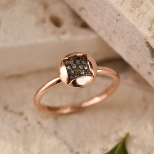 Brown Diamond Ring, Droplet Ring, Square Ring, Stackable Ring Set