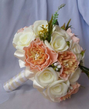 Romantic Ivory Wedding Bouquet Bridesmaids Bouquet Wooden flower bouquet Wedding flowers Peach Flower Bouquet Alternative Bouquet Fall