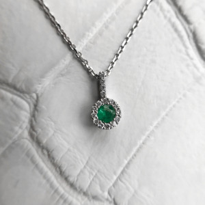 14K Gold Emerald Pendant, Natural Emerald Necklace, Gold Gemstone Pendant Necklace For Women, Unique Gift For Her