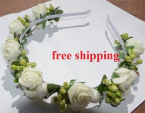 White Rose Crown, Flower Girl Wreath, Woodland Crown, Boho Rose Crown, Festival Crown, Flower Girl Crown,bridal headpiece,wedding headband