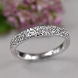 Diamond Wedding Band, Pave Diamond Ring, Half Eternity Band, Wedding Bands Women, Promise Ring For Her, Diamond Ring