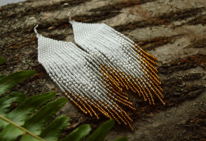 Lond fringe earrings, Gold silver white beaded earrings, Beaded women jewelry, Seed bead earrings