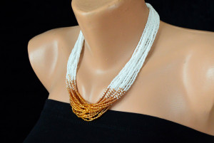 Wedding multistrand seed bead necklace, Beaded Ladies Necklace