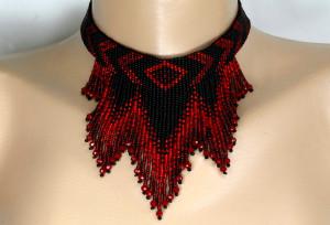 Red and Black seed bead fringe choker