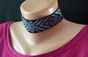 Beaded choker, seed bead headband