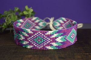 Beaded Choker Necklace, Native American inspired, Boho beaded necklace, Own designer beaded choker