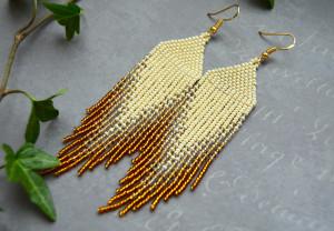 Beaded earrings, Seed bead long fringe earrings
