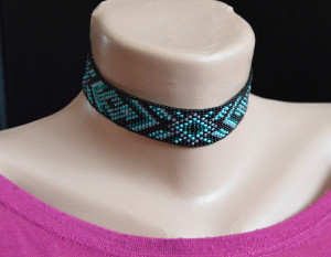 Beaded Choker Necklace, Geometric ornament choker, Own designer seed bead necklace