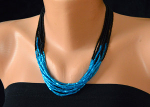 Beaded multisrange necklace, Blue black necklace, Bridesmaids Necklace