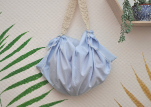 Natural cotton furoshiki bag with macramé strap, Stripy red blue gray white square scarf, Reusable eco friendly gift set