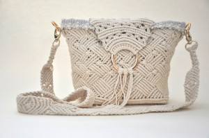 Macrame off white cotton rope bag with replacement strap Woven bag with gold metal ring decor Boho shoulder bag with fringe