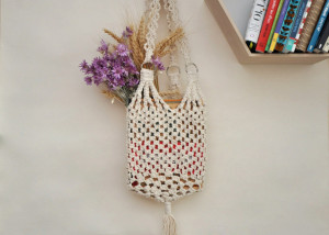 Macrame off white cotton cord bag, Woven white ivory cylinder tote bag, Weekender boho net bag, Shopping Bag