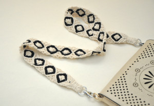 Macrame off white purse strap Woven boho bag strap Replacement natural cotton cord shoulder strap Gift with hearts