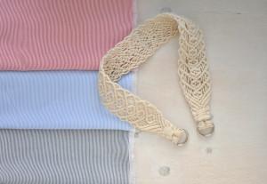Macramé carry strap for furoshiki bag, Reusable fabric eco friendly zero wast gift set