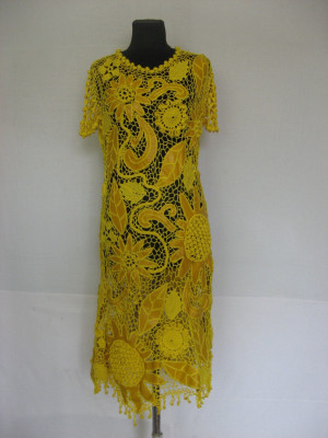 Crochet dress Crochet Lacy Dress Small leather Dress Crochet Dress Irish Lace Dress yellow leather Dress Summer dress viscose crochet Dress