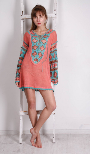 Crocheted Ethnic Tunic, KNITTED Coral Tunic, CROCHETED Women tunic, Colourful Flower Tunic,BOHO crocheted top , Lacy Crocheted Tunic