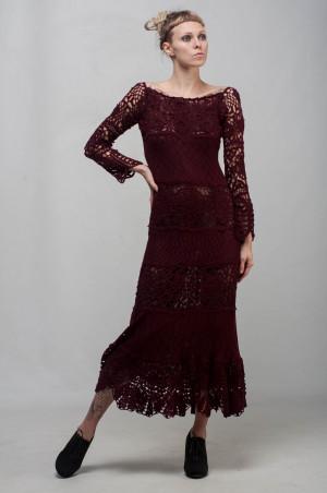 Marsala Formal dress burgundy lace dress maxi long sleeve dress Crochet lacy dress maroon off shoulder dress Crochet evening floor gown
