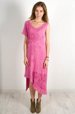 Crochet mauvy dress Summer one sleeve dress pink crocheted Viscose Dress OOAK Handmade Dress cocktail midi dress beachwear pink dress