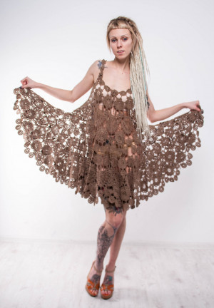 Brown Crochet dress walnut dress irish lace dress prom crochet sundress beige crochet sundress sleeveless crochet dress lace beige sundress