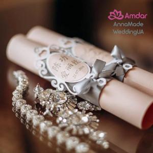 Invitations for wedding, Boxed Scrolls Invitations, Traditional Invitations in Scroll Box With Customized Initials, Quinceañera invitation