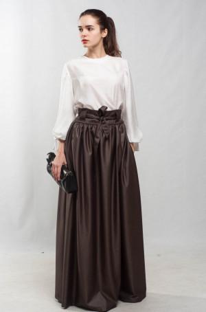 Taupe maxi skirt flared skirt pleated skirt formal floor skirt special day skirt brown pockets cocktail skirt bridesmaid skirt prom skirt