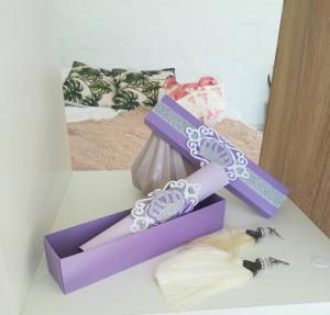 Purple invitation, scroll in a box, purple with silver crown, Invitation in box, any color, Invitation Quinceañera,Personalization