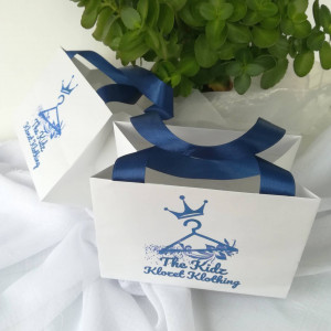 30 pcs set paper bag with satin ribbon handles and print logo, white wedding welcome bags - Personalized Paper Bag, custom paper bag