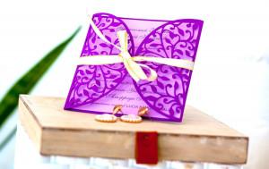 Purple invitation, Сarved invitations,Floral Wedding Invitation, Lavender Lasercut Invitation, Romantic Invitation, Custom Printing
