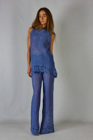Crochet costume Crocheted Linen Blue Summer Costume cornflower Knitted Maxi Costume Crochet tank top crochet linen pants linen lacy ensemble