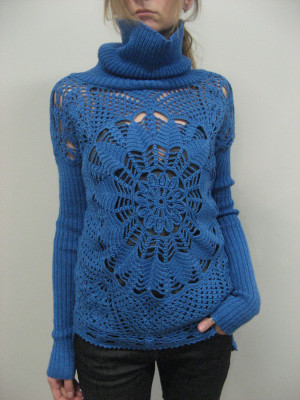 Knitted Wool Viscose Turquoise Winter Sweater Lacy Handmade Glamour Assimetric Crocheted  Tunic Crocheted  Sweater