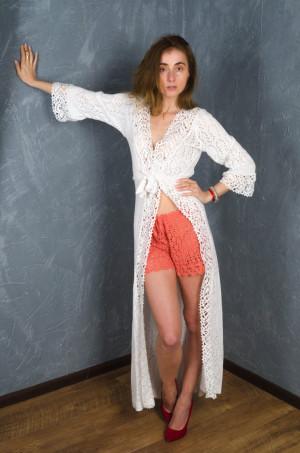 Crochet coral shorts handmade linen shorts,beach lacy pants  swimwear,handmade bikini, coral resort shorts,lowrise shorts crochet beachwear