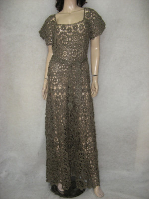 Crochet dress Crochet maxi dress handmade maxi dress Crochet gray lacy dress Handmade khaki linen Dress Crochet Beach crochet evening gown