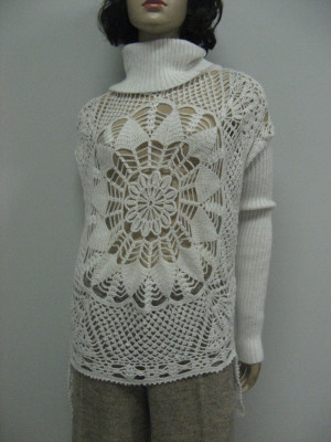 Knitted Wool white Winter Sweater Lacy Handmade Glamour Assimetric Crocheted  Tunic Crocheted  Sweater