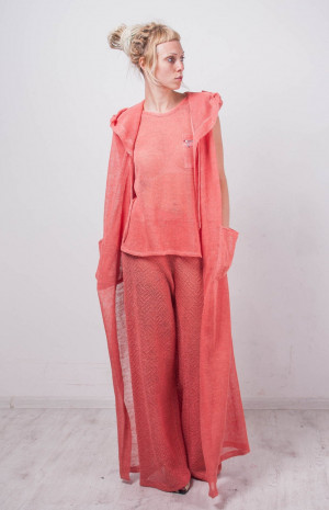 Knit coral hoodie cardigan crochet lace long cardigan Maxi Handmade Cardigan Crochet slit Wraparound coral Cardigan Crossover linen cardigan
