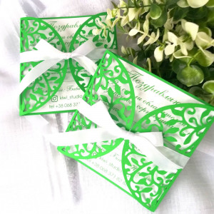 Invitation green, birthday 15 invitations, Quinceanera invitation, blue carved invitations with White Ribbon, Cut Wedding Invitation, Custom