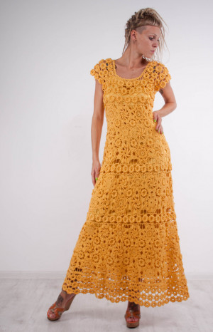 Crochet maxi dress handmade formal dress ready to ship party lace dress Handmade yellow linen Dress Crochet Beachwear crochet evening gown