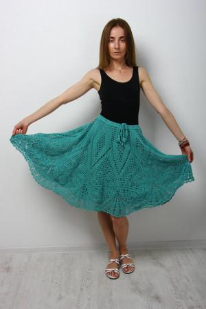 Crochet linen skirt, Trendy crochet skirt, Boho Handmade Rustic Skirt Turquoise crochet skirt Flared linen skirt