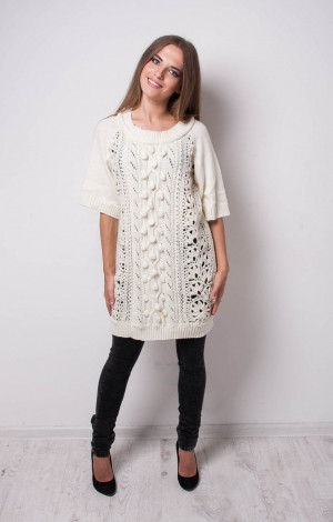 CROCHET sweater oversize KNIT pullover Wool white Winter sweater Lacy ivory Tunic Handmade Crocheted Tunic white Crocheted Dress
