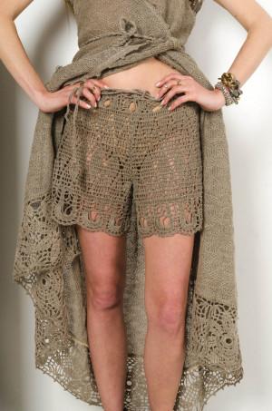 Crochet gray shorts handmade linen shorts,beach lacy pants, summer swimwear,handmade bikini, resort shorts,lowrise shorts crochet beachwear