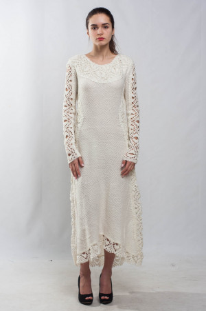 White asymmetric maxi dress KNIT long sleeves wedding Dress Crochet ivory Dress evening dress cocktail lace Dress maxi white V neck Dress