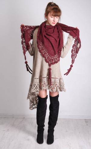 Crochet shawl marsala wrap Boho KNITTED bordeaux Lacy Shawl, Bohemian Handmade alpaca Wrap Crochet LACY wine Wrap Lacy Knit marsala Shawl