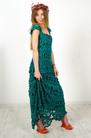 Crochet maxi dress handmade maxi dress Crochet emerald lacy sundress Handmade cotton Dress Crocheted Beachwear,evening green garment