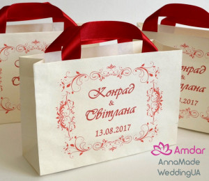 30 pcs Wedding welcome bags - Elegant gift Bag with satin ribbon handles - Custom Personalized ivory Paper Bag and text for party guests