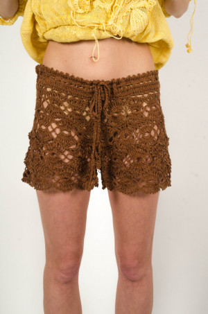 Crochet shorts brown handmade shorts linen shorts,beach lacy pants, summer swimwear,handmade bikini, earthy resort shorts,lowrise shorts