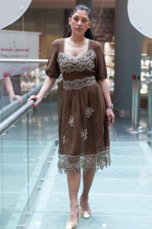 Crochet linen dress Vintage dress evening crochet lace Dress Crochet Dress Linen brown Dress Chocolate Dress Handmade Dress Crocheted Dress
